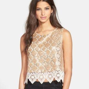 ASTR Gold Sequin Crochet Cropped Tank sz M